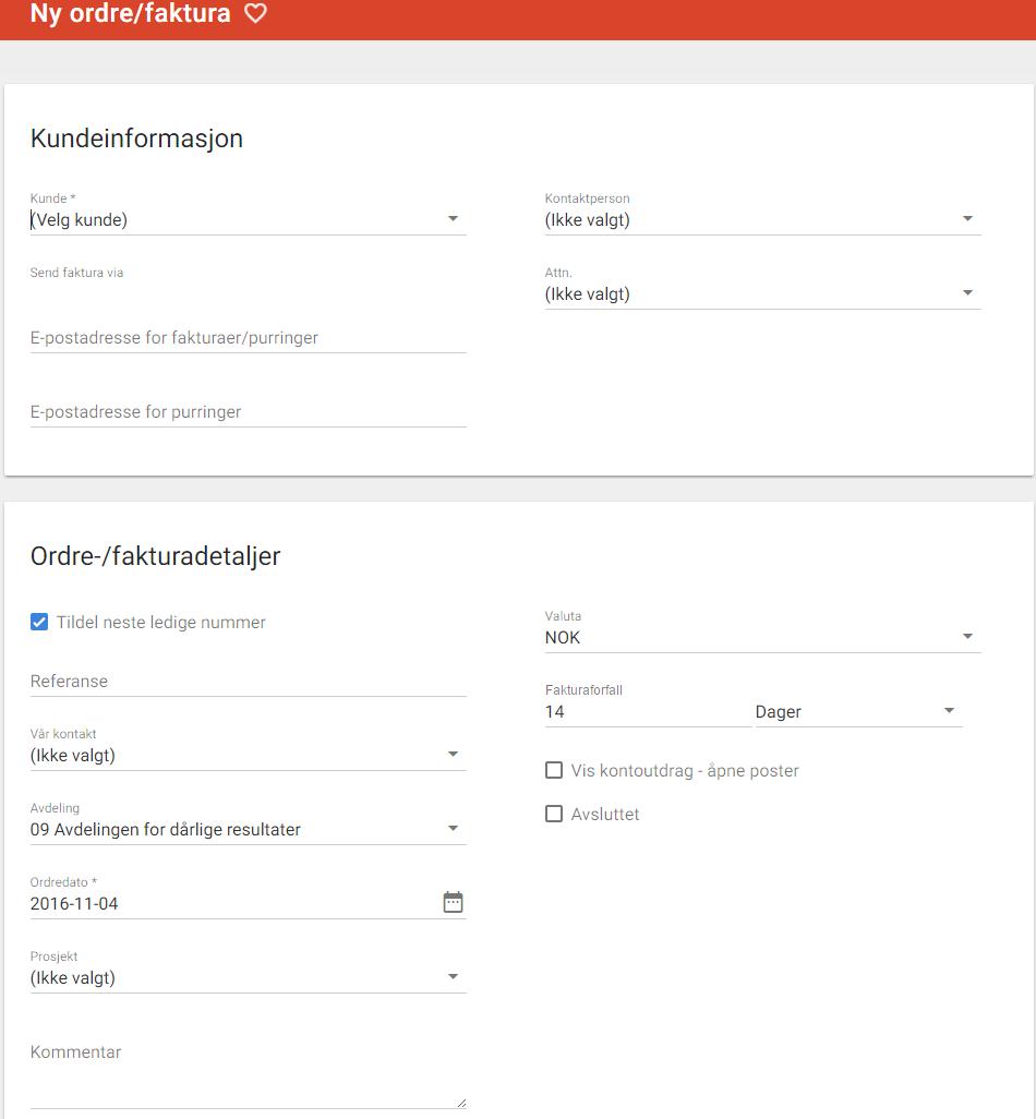 be6622e3 Man velger en eksisterende kunde fra nedtrekksmenyen eller oppretter en ny  kunde ved å trykke på plusstegnet. Hvis man registrerer en gyldig  e-postadresse ...